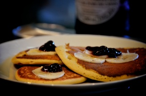 Chickpea Flour Pancakes w/ Banana & Black Currant Jam