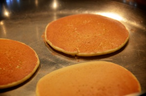Chickpea flour pancake flipped